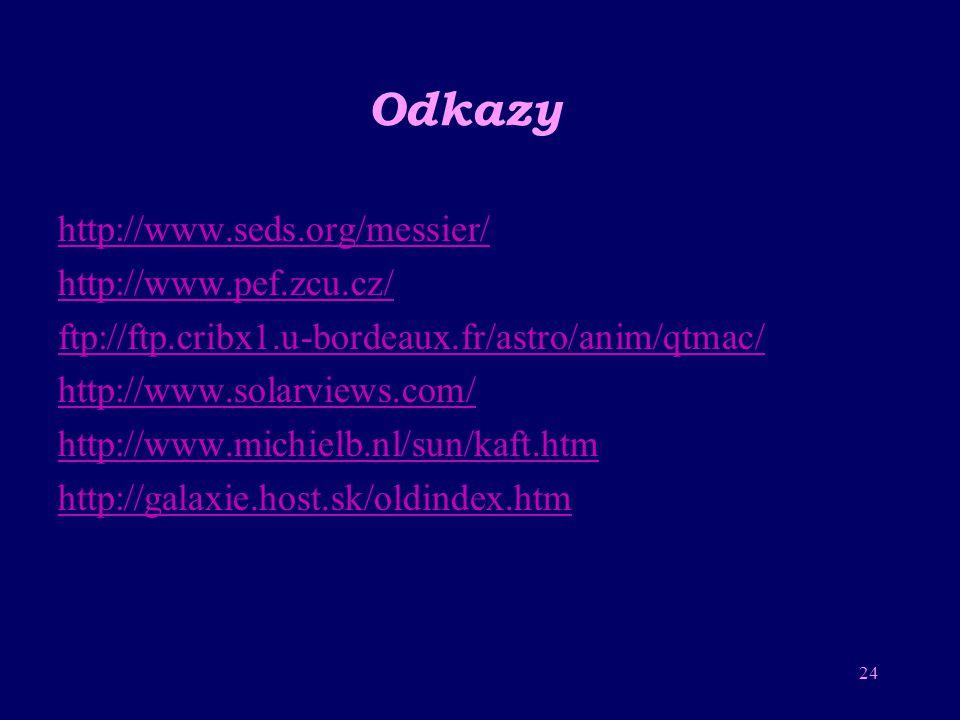 Odkazy http://www.seds.org/messier/ http://www.pef.zcu.cz/