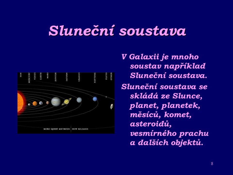 Sluneční soustava V Galaxii je mnoho soustav například Sluneční soustava.