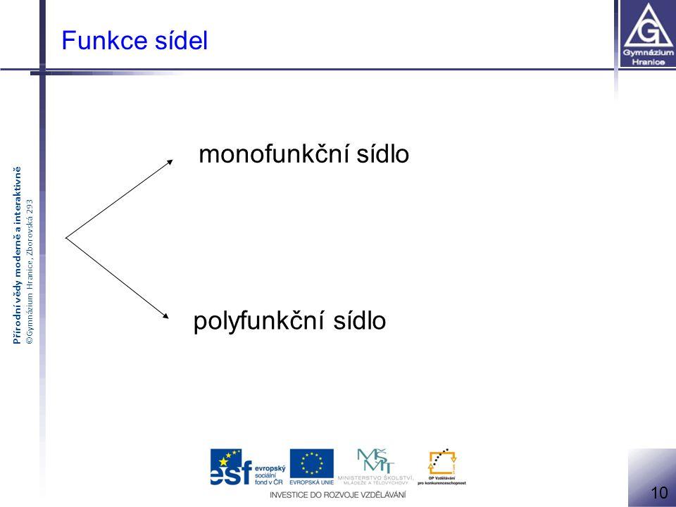 Funkce sídel monofunkční sídlo polyfunkční sídlo 10