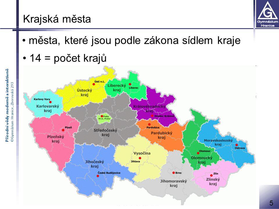 města, které jsou podle zákona sídlem kraje