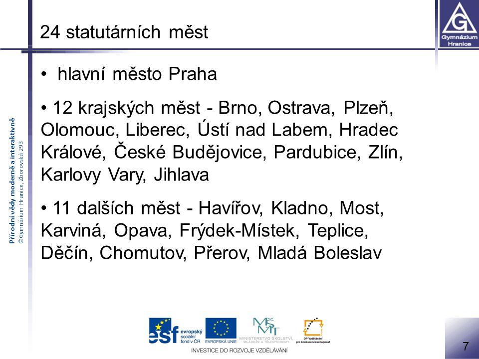 24 statutárních měst hlavní město Praha