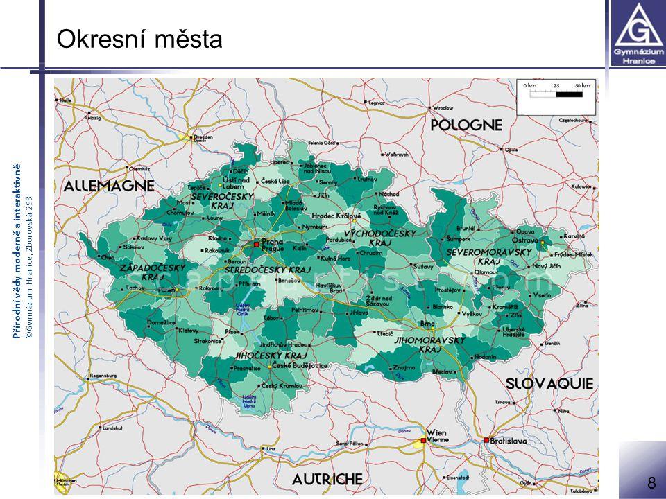 města, která jsou sídlem okresu