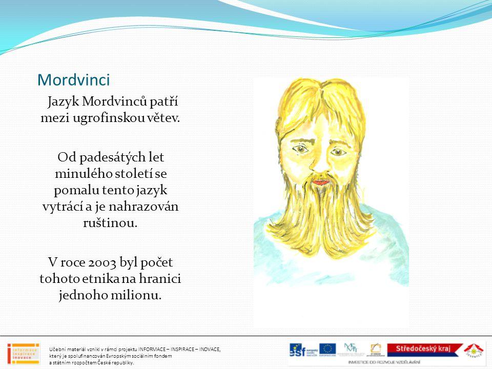 Mordvinci Jazyk Mordvinců patří mezi ugrofinskou větev. Od padesátých let minulého století se pomalu tento jazyk vytrácí a je nahrazován ruštinou.