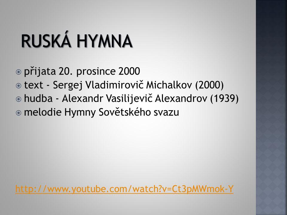 Ruská hymna přijata 20. prosince 2000