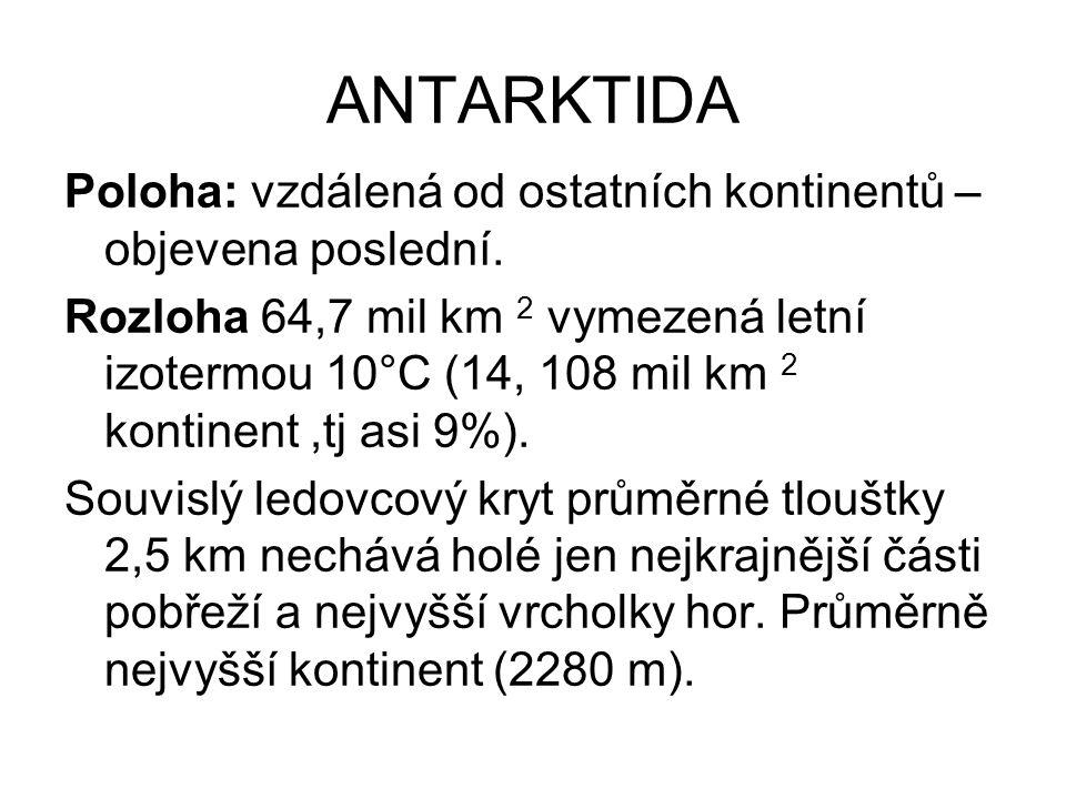 ANTARKTIDA Poloha: vzdálená od ostatních kontinentů – objevena poslední.