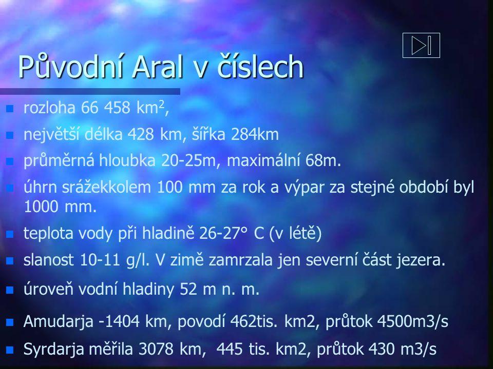 Původní Aral v číslech rozloha 66 458 km2,