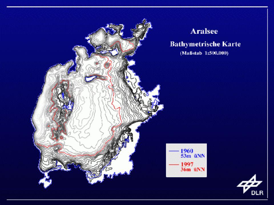 Řeka Syrdarja na dolním toku zcela vyschla a v období let 1966 až 1993 poklesla hladina Aralského jezera o 16 metrů.