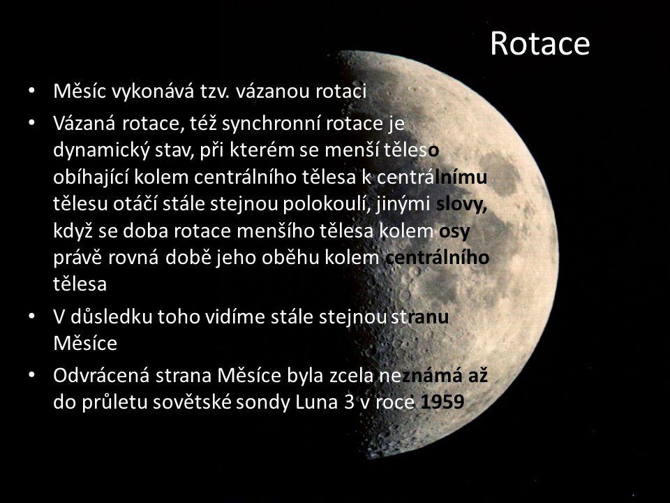 Rotace Měsíc vykonává tzv. vázanou rotaci