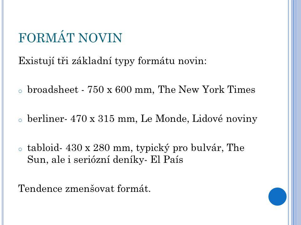 FORMÁT NOVIN Existují tři základní typy formátu novin: