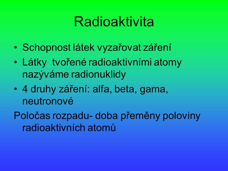 Radioaktivita Schopnost látek vyzařovat záření