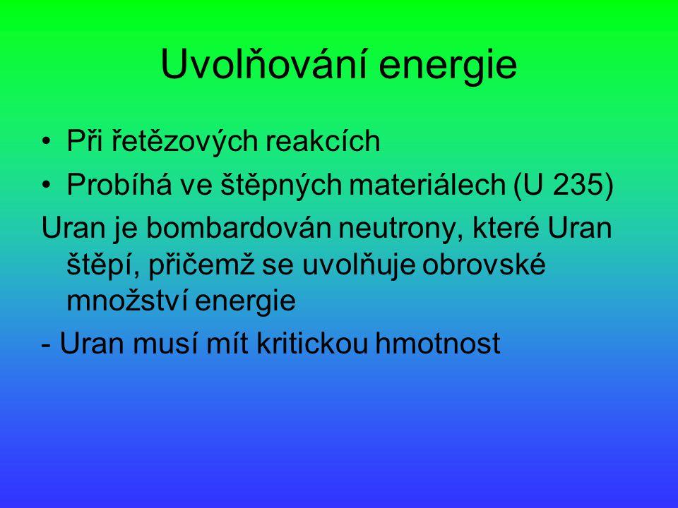 Uvolňování energie Při řetězových reakcích