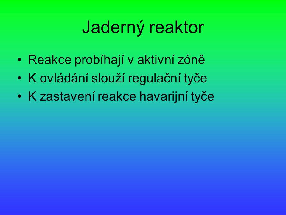 Jaderný reaktor Reakce probíhají v aktivní zóně