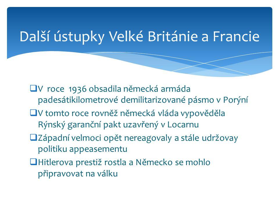 Další ústupky Velké Británie a Francie