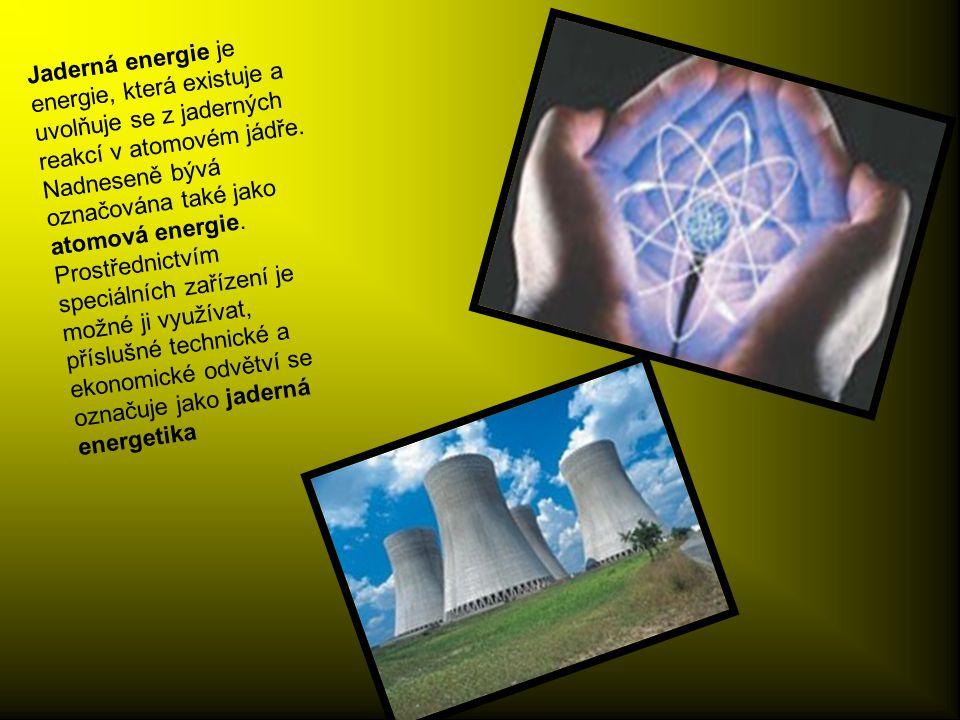 Jaderná energie je energie, která existuje a uvolňuje se z jaderných reakcí v atomovém jádře.