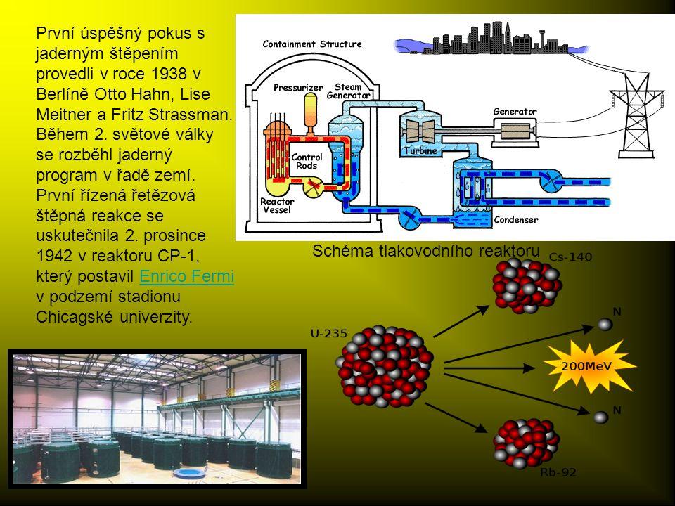 První úspěšný pokus s jaderným štěpením provedli v roce 1938 v Berlíně Otto Hahn, Lise Meitner a Fritz Strassman.