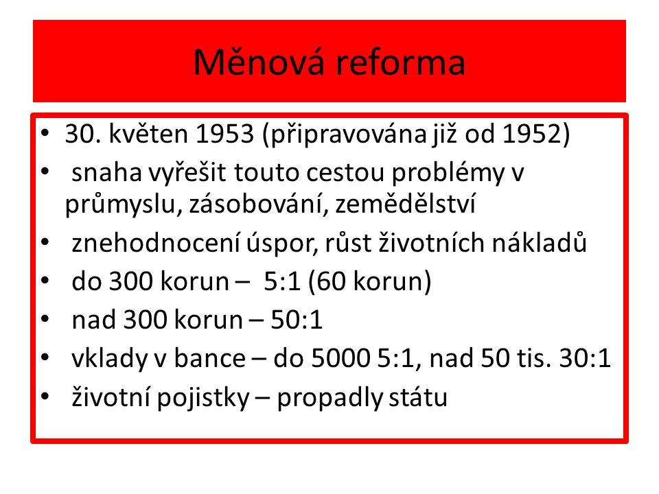 Měnová reforma 30. květen 1953 (připravována již od 1952)