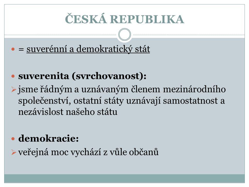 ČESKÁ REPUBLIKA = suverénní a demokratický stát