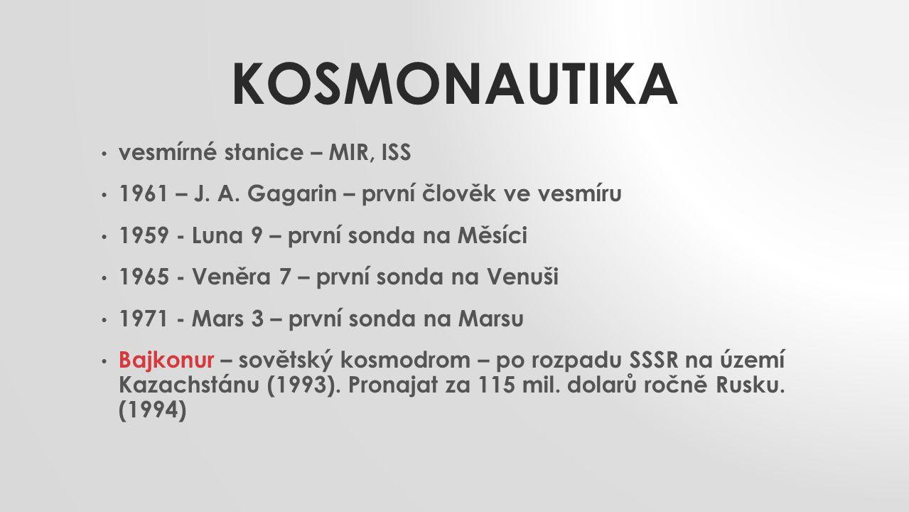 Kosmonautika vesmírné stanice – MIR, ISS
