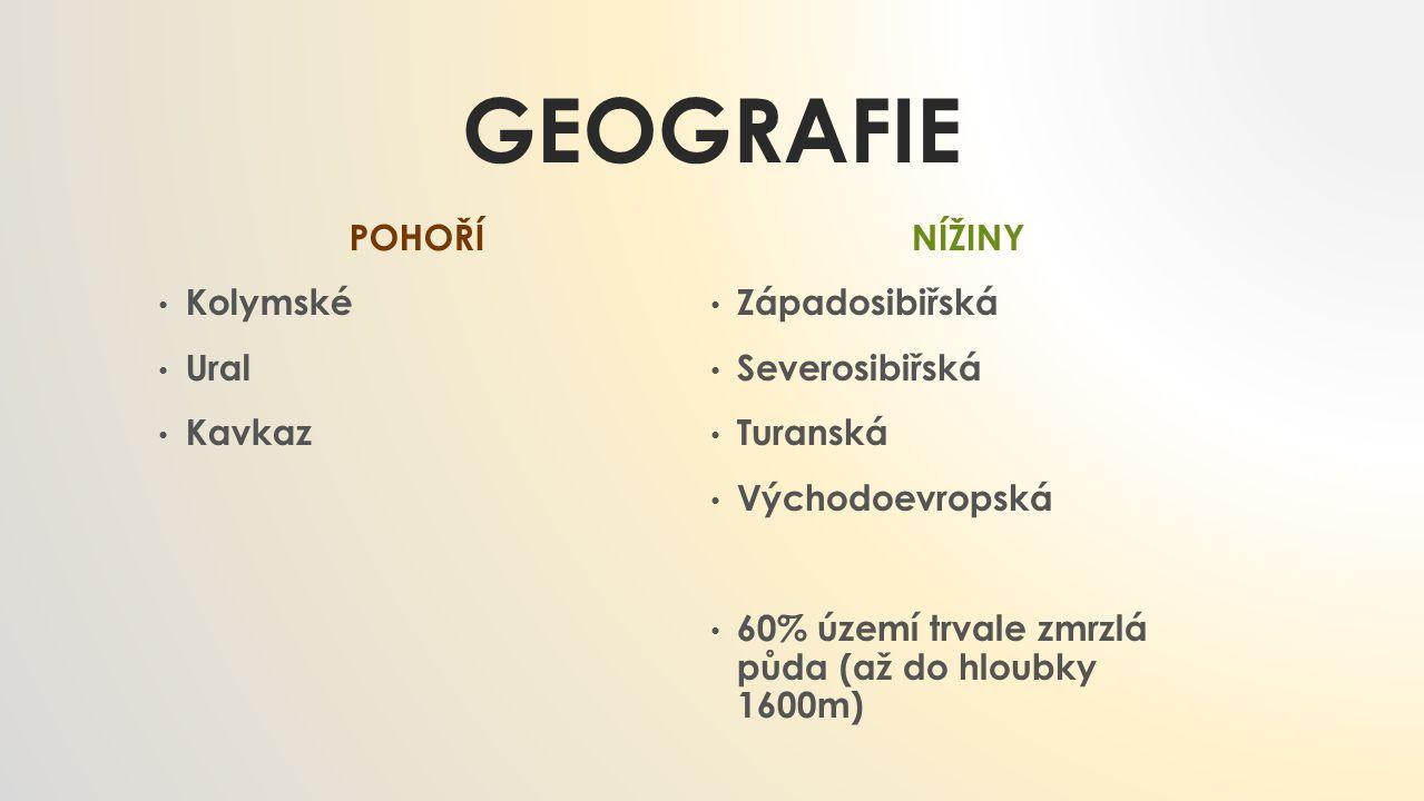Geografie POHOŘÍ Kolymské Ural Kavkaz NÍŽINY Západosibiřská