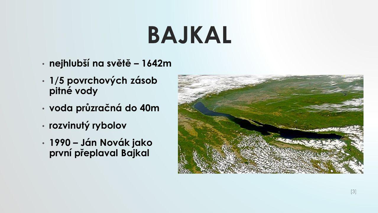 Bajkal nejhlubší na světě – 1642m 1/5 povrchových zásob pitné vody