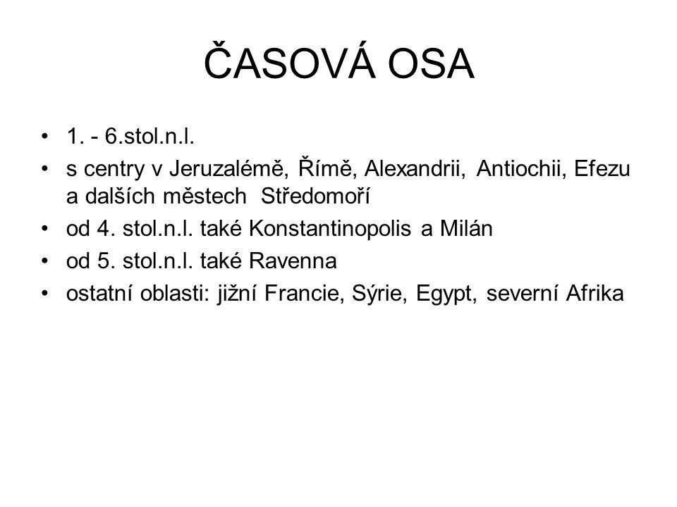 ČASOVÁ OSA 1. - 6.stol.n.l. s centry v Jeruzalémě, Římě, Alexandrii, Antiochii, Efezu a dalších městech Středomoří.