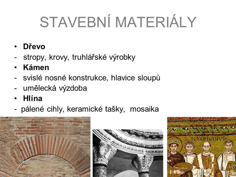 STAVEBNÍ MATERIÁLY Dřevo - stropy, krovy, truhlářské výrobky Kámen