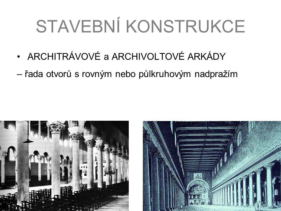 STAVEBNÍ KONSTRUKCE ARCHITRÁVOVÉ a ARCHIVOLTOVÉ ARKÁDY