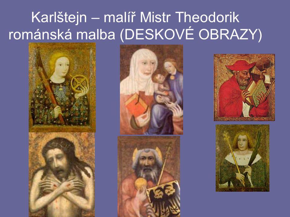 Karlštejn – malíř Mistr Theodorik románská malba (DESKOVÉ OBRAZY)