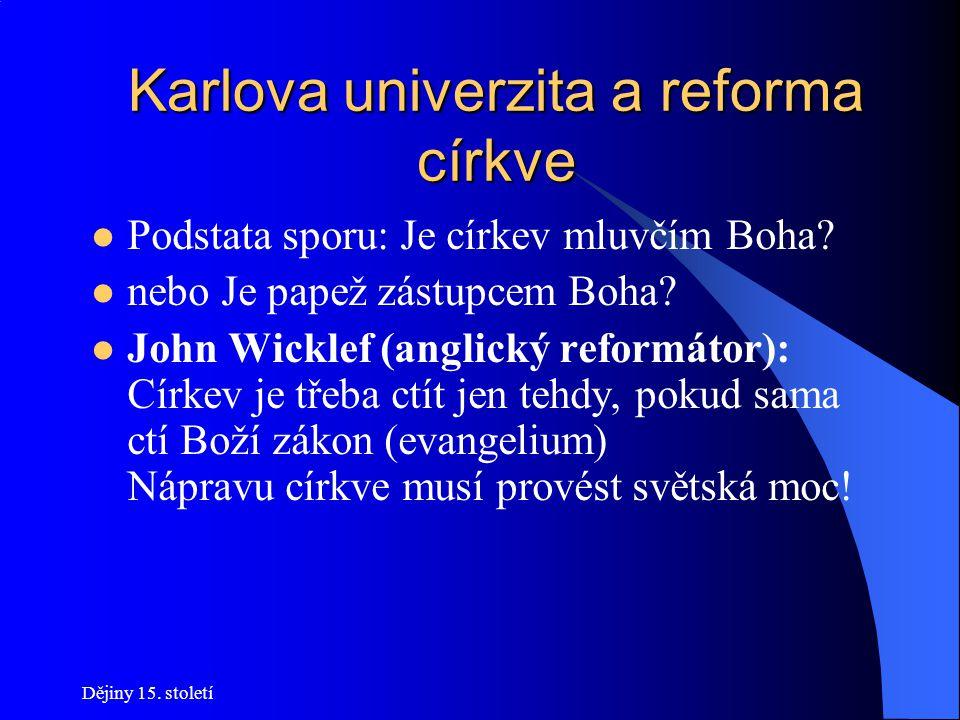 Karlova univerzita a reforma církve