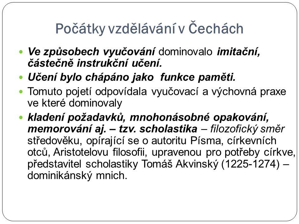 Počátky vzdělávání v Čechách