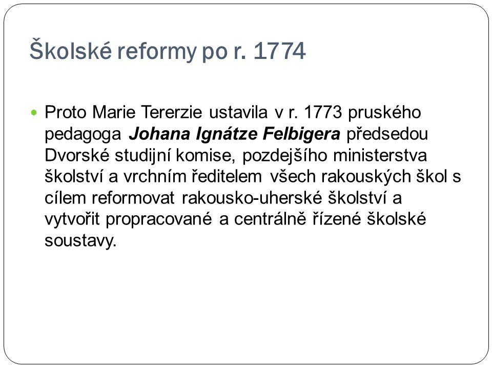 Školské reformy po r. 1774