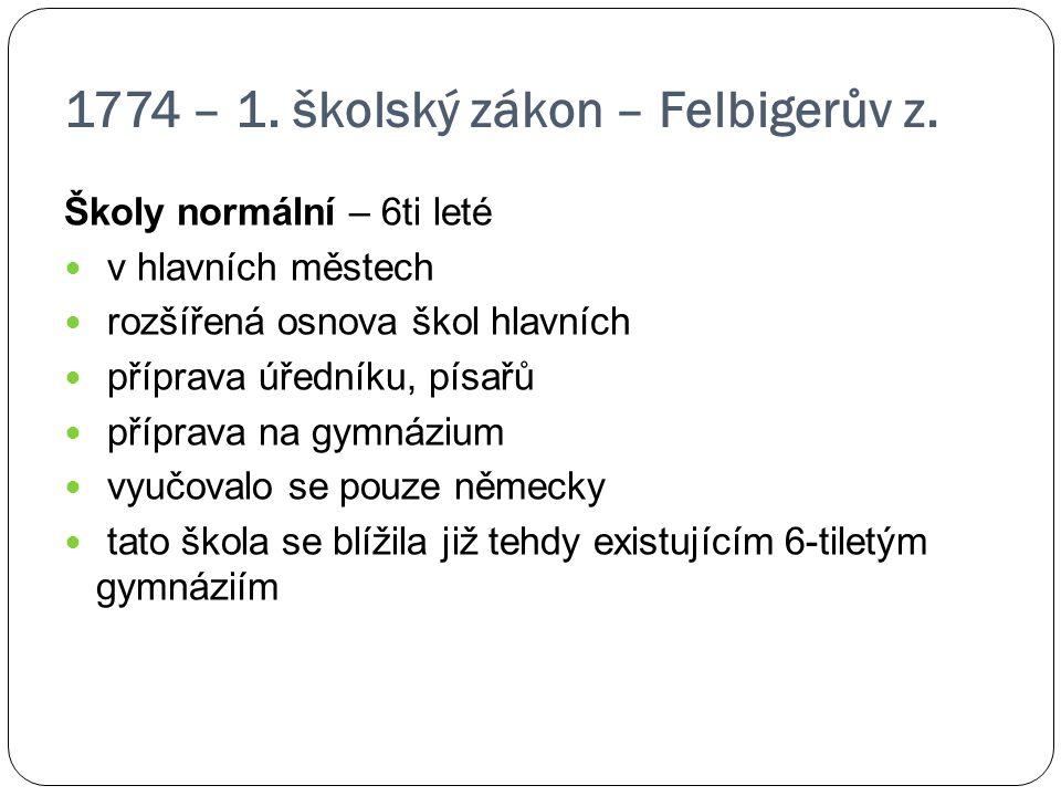 1774 – 1. školský zákon – Felbigerův z.