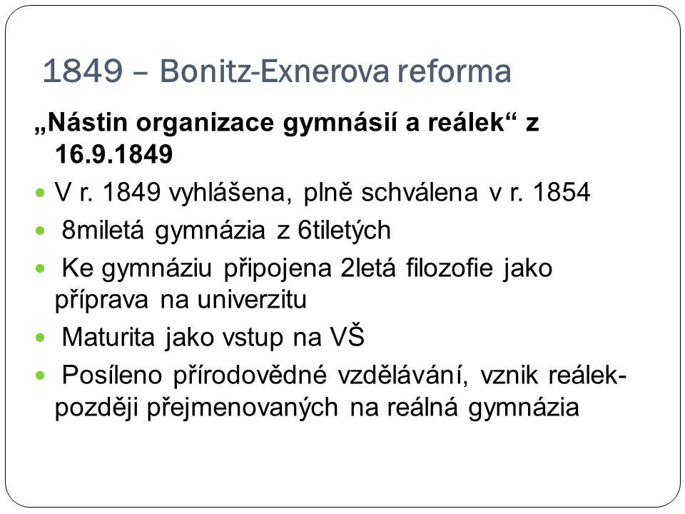 1849 – Bonitz-Exnerova reforma