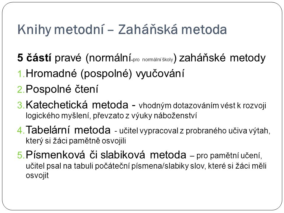 Knihy metodní – Zaháňská metoda