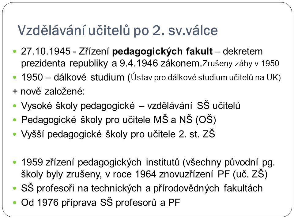 Vzdělávání učitelů po 2. sv.válce