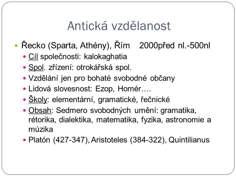 Antická vzdělanost Řecko (Sparta, Athény), Řím 2000před nl.-500nl
