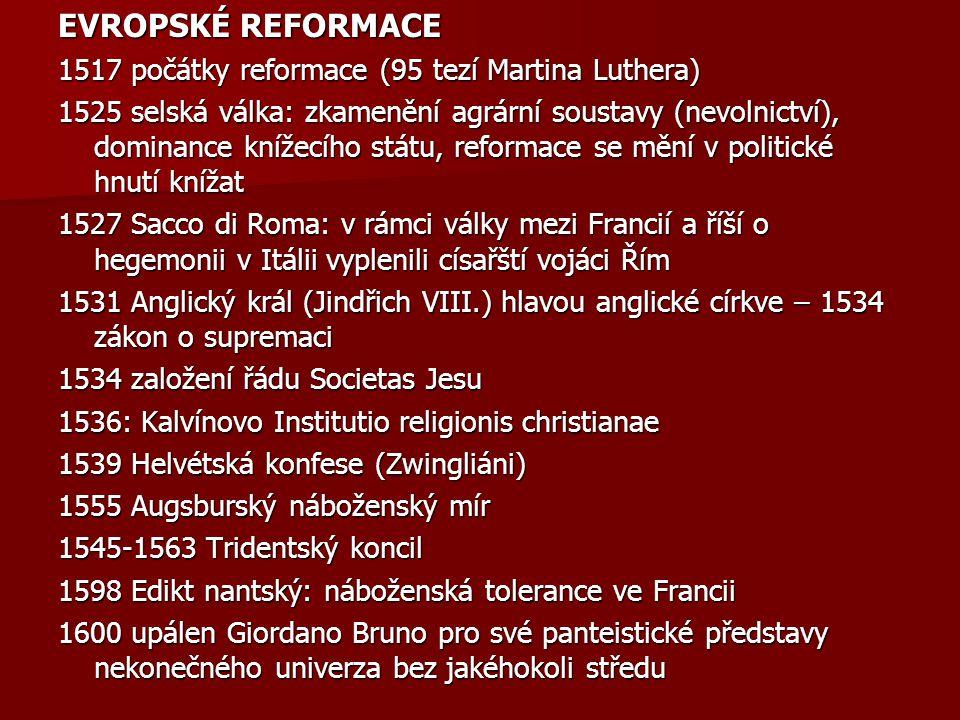 EVROPSKÉ REFORMACE 1517 počátky reformace (95 tezí Martina Luthera)