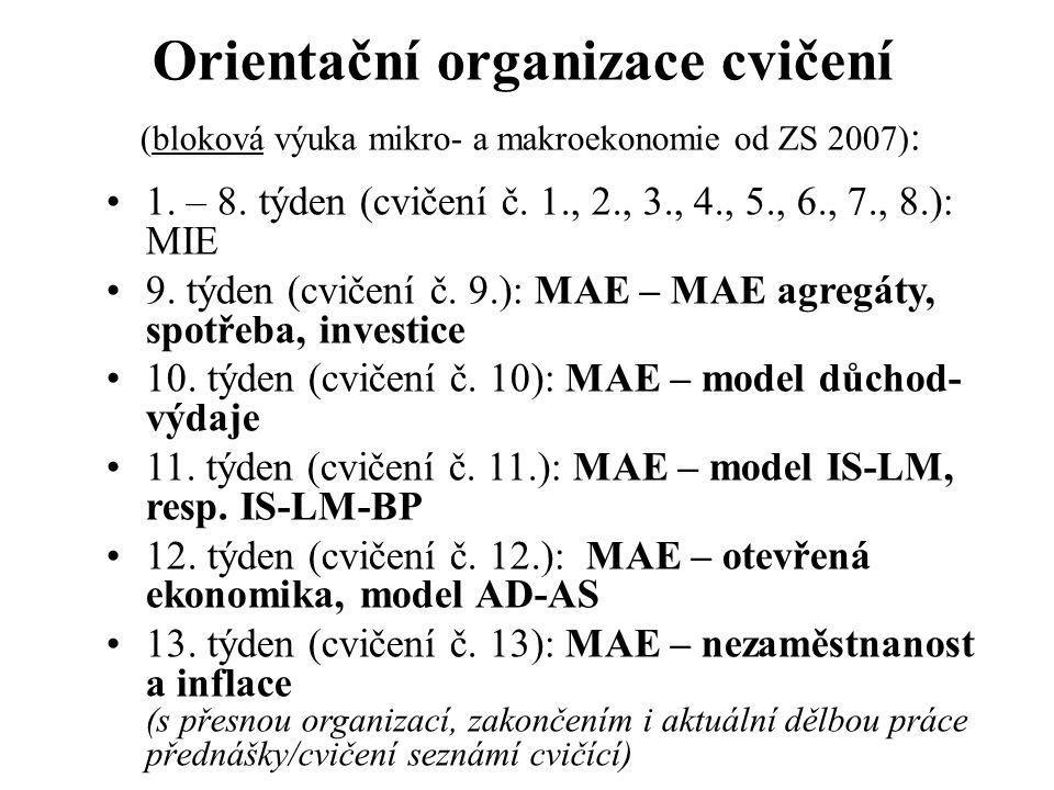 Orientační organizace cvičení (bloková výuka mikro- a makroekonomie od ZS 2007):