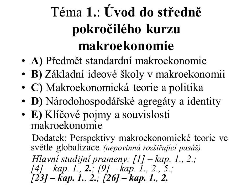 Téma 1.: Úvod do středně pokročilého kurzu makroekonomie