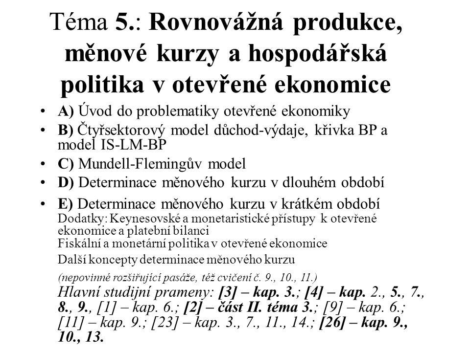 Téma 5.: Rovnovážná produkce, měnové kurzy a hospodářská politika v otevřené ekonomice