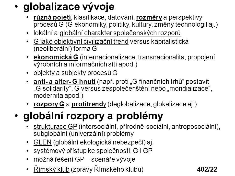 globální rozpory a problémy