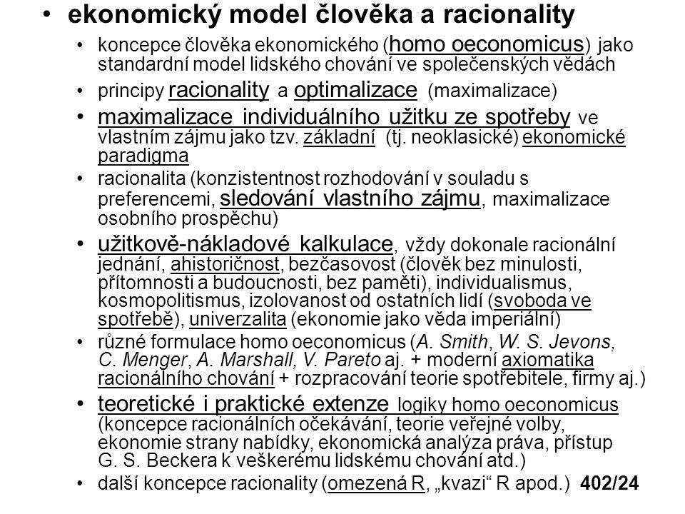 ekonomický model člověka a racionality