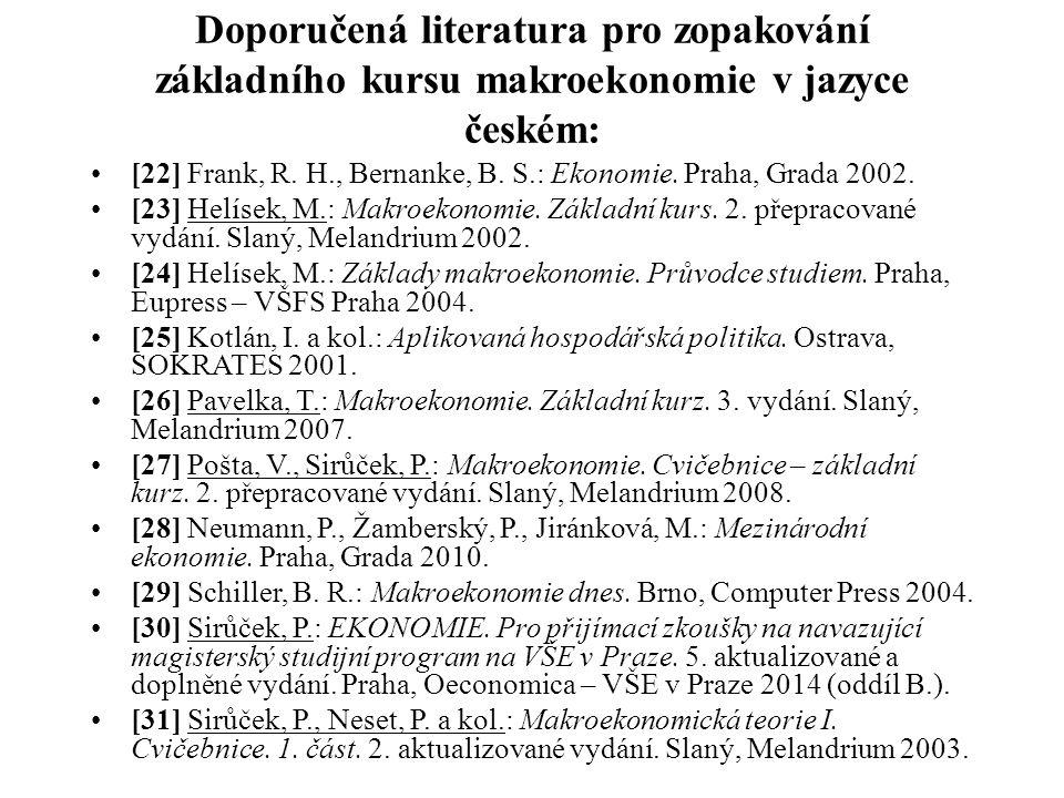 Doporučená literatura pro zopakování základního kursu makroekonomie v jazyce českém: