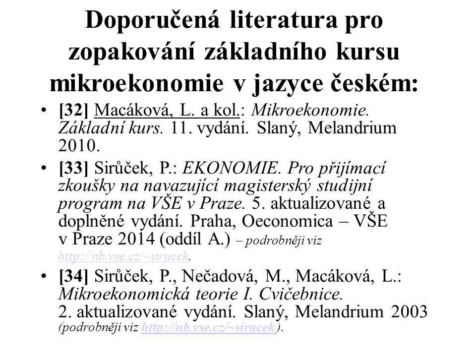 Doporučená literatura pro zopakování základního kursu mikroekonomie v jazyce českém: