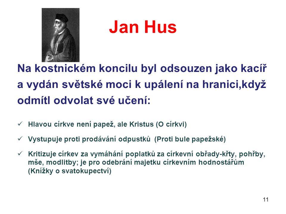 Jan Hus Na kostnickém koncilu byl odsouzen jako kacíř