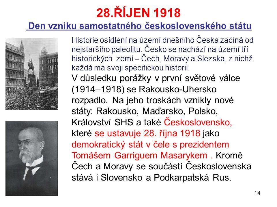 28.ŘÍJEN 1918 Den vzniku samostatného československého státu