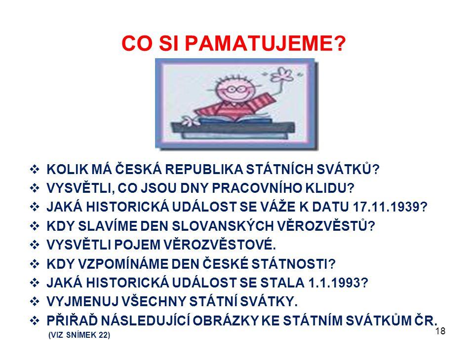 CO SI PAMATUJEME KOLIK MÁ ČESKÁ REPUBLIKA STÁTNÍCH SVÁTKŮ