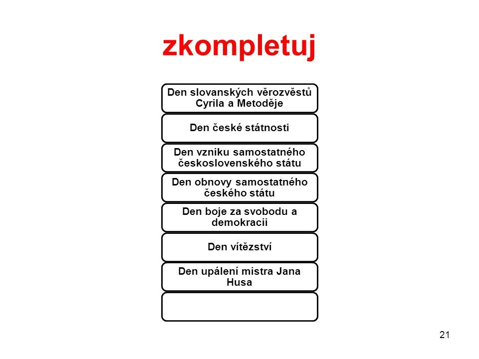 zkompletuj Den slovanských věrozvěstů Cyrila a Metoděje