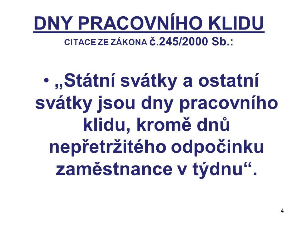 DNY PRACOVNÍHO KLIDU CITACE ZE ZÁKONA č.245/2000 Sb.: