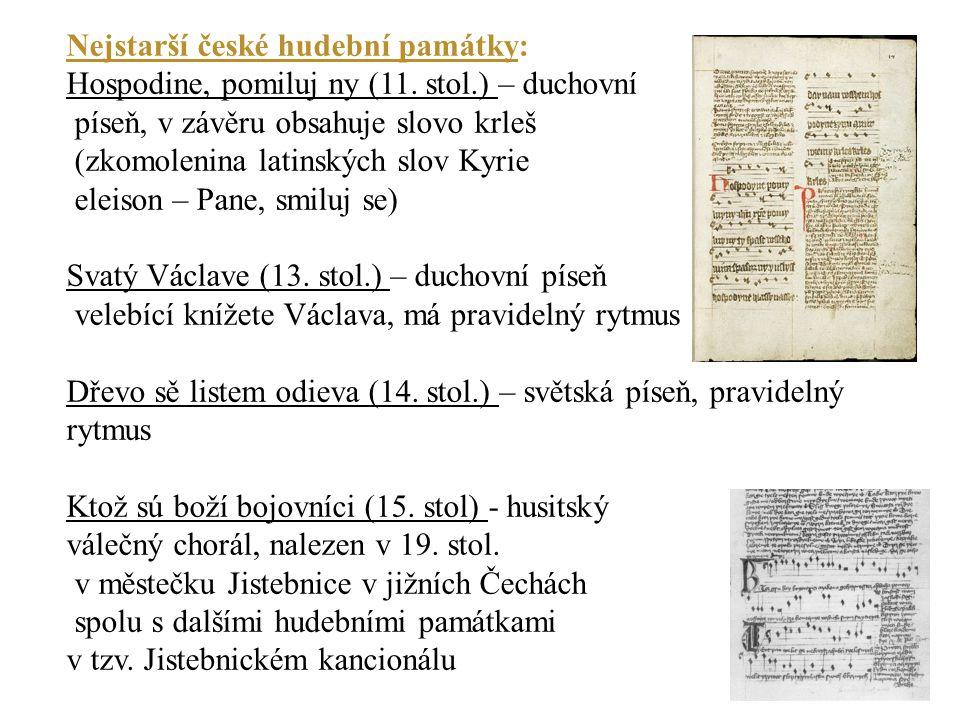 Nejstarší české hudební památky: